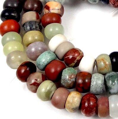 "6x4mm Natural Multi Stone Jasper Jade Rondelle Beads 16"""