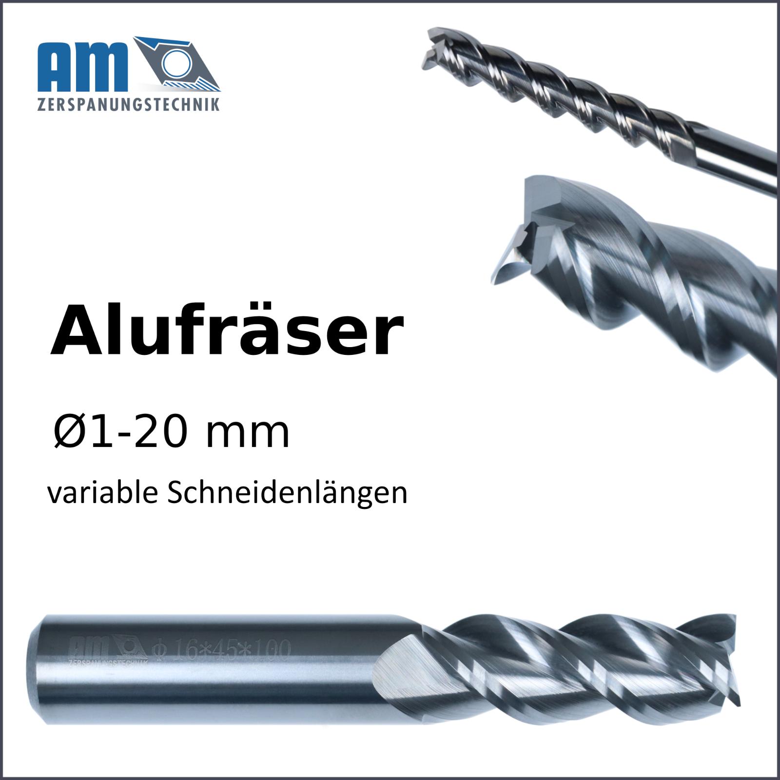 VHM Schaftfräser - verschiedene Größen - Alu & NE Metalle
