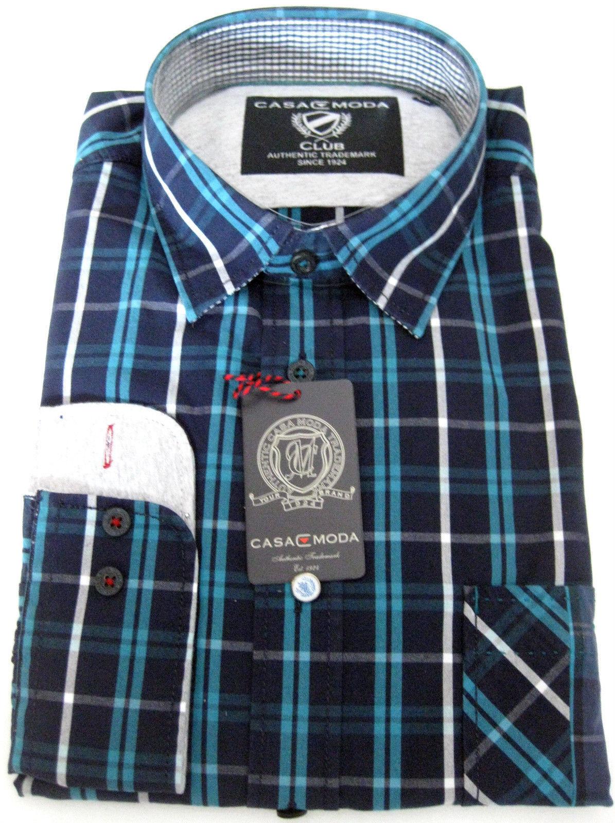 Casa MODA CLUB EDITION Camicia Quadri Camicia Tempo Libero Camicia Camicia Camicia Navy Turchese A Quadri M o XL 8aeea1