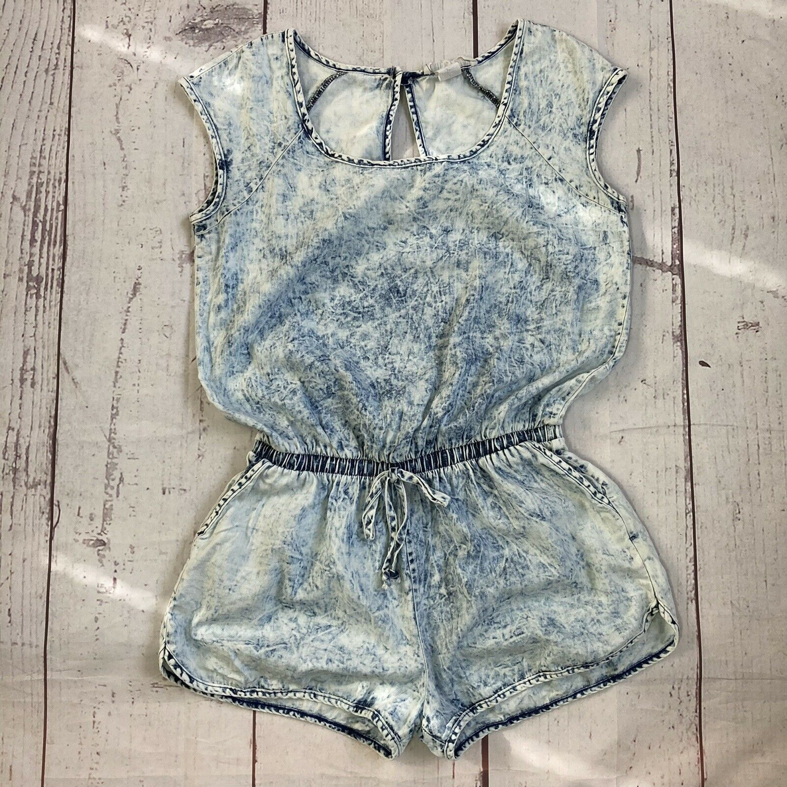 Milky Way Vintage M Medium Acid Washed 80s Style Jumper Jumpsuit Thin Pocketed