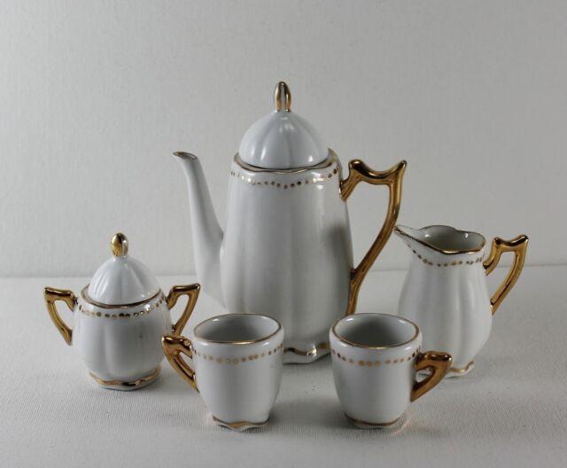 Vintage Porcelain Gilded Miniature Doll Toy Tea Set Pot Creamer Sugar Cups 7 Pc