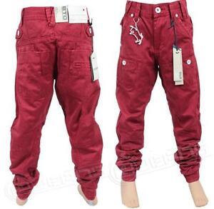 Garcons-Nouveau-Eto-EB259-Createur-Decontracte-Chinos-Kids-Revers-Jeans-En-Rouge-amp-Tan-couleur