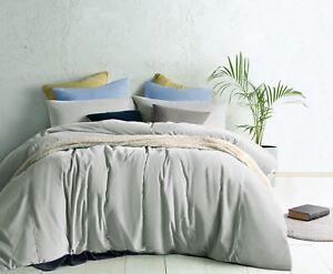 Dove Grey Linen Cotton Vintage Wash Quilt Doona Cover Set QUEEN KING Super KING