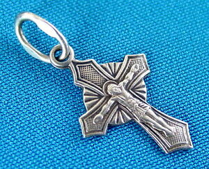 Old Russian Small Cross Sterling Silver, Jesus Christ, Orthodox