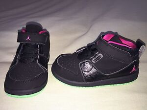 brand new ab79c b9e1d Details about USED NIKE AIR JORDAN TODDLER SZ 8C BLACK PINK GREEN MINT  CONDITION