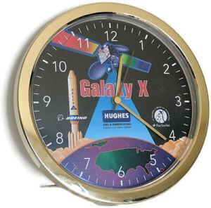 Galaxy-X-10-Hughes-Satellite-Wall-Clock-1990s-Vintage-Plastic-Space-Boeing