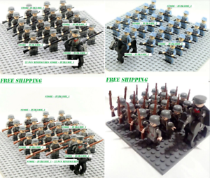 21pcs-Minifigures-Lego-MOC-WW2-Military-Horse-Soldier-US-Britain-Army-Weapon-Toy