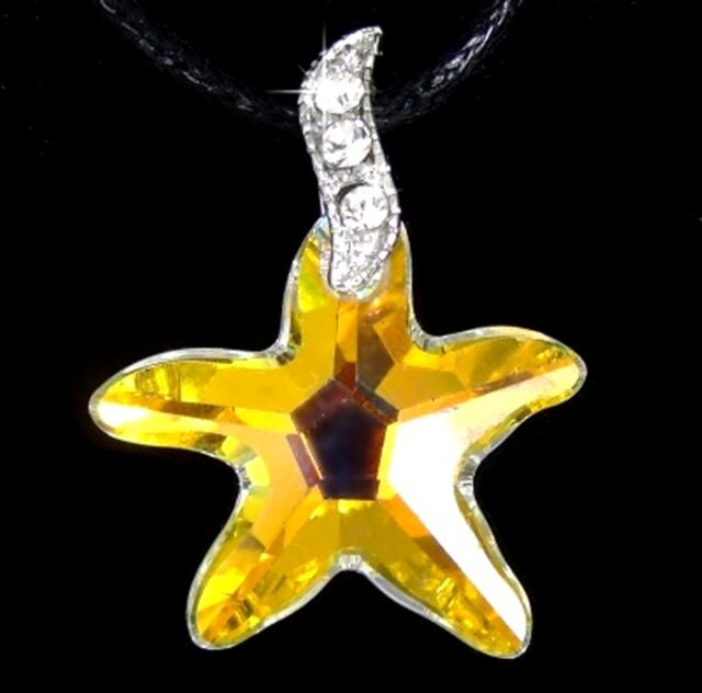 MADE WITH SWAROVSKI CRYSTAL AB STARFISH STAR WHITE GOLD PLATED PENDANT NECKLACE
