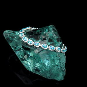 10CT-Oval-Blue-Topaz-Halo-Created-Diamond-Tennis-Bracelet-925-Sterling-Silver
