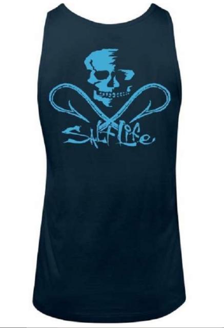 536d395df1e33 Salt Life Men s Neon Skull and Hooks Tank Top T Shirt Size Small for ...
