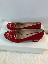 New sz 7/ 37 Charlotte Olympia Red Suede Gold Kitty Cat Face Low Heel Pump Shoe