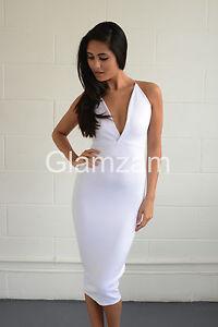 ccff99858023 Detalles acerca de Nuevo para mujer DAMAS MIDI LÁPIZ BODYCON con tiras de  inmersión blanco vestido glamoroso sin espalda- mostrar título original