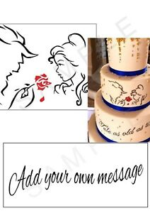 Personalised Disney Beauty And The Beast Silhouette Edible Icing