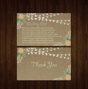 wishing well cards 380gsm wedding invitations printed cut print