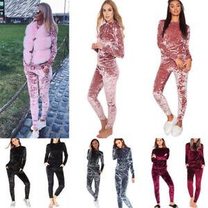 Ladies Crushed Velvet Lounge Suit Sweatshirt Pant Women Lounge Wear