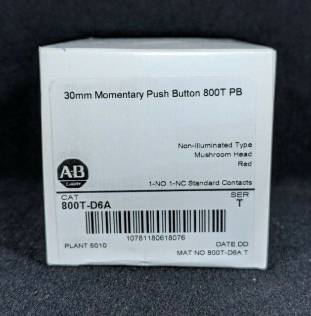 ALLEN BRADLEY 800T-D6A 30.5mm Type 4/13 Mom. Contact PB, Non-Illum., Red