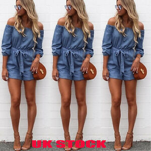 UK-New-Womens-Off-The-Shoulder-Mini-Playsuit-Ladies-Summer-Shorts-Jumpsuit-6-16