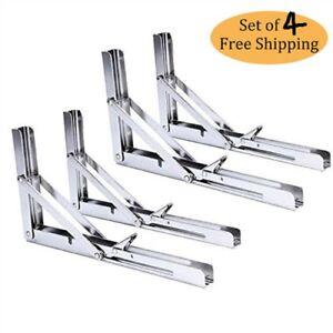 4X Heavy Duty Stainless Fold Bench Shelf Table Bracket 250Kg Long Release Arm US