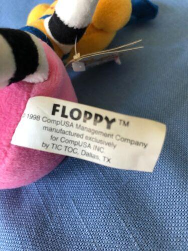 "HTF Retired 1998  CompUSA Plush /""Floppy/"" NWT Yellow//Black//Pink for Comp Kids"