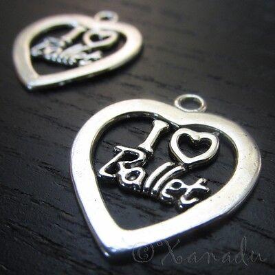 Wholesale Heart Pendant Findings C2957-5 20PCs 10 I Love Ballet Charms