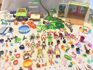 158-Items-Playmobil-Lot-Beach-Vacation-Bungalow-Cabana-Pool-People-Dogs-Cats