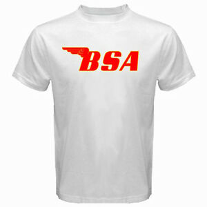 BSA Famous Motorcycle Retro Company Logo Men/'s White T-Shirt Size S to 3XL