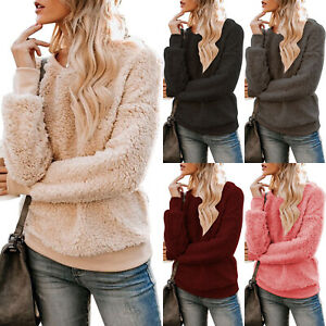 Details about Womens Faux Fur Teddy Bear Fleece Jumper Sweater Ladies Pullover Sweatshirt Tops