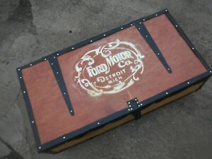 Details About Ford Motor Company Pine Trunk Chest Box Coffee Table On Wheels
