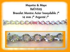 BRACELET MONTRE ACIER INOXYDABLE ARGENTÉ FEMME /* 14 mm  REF.VE05