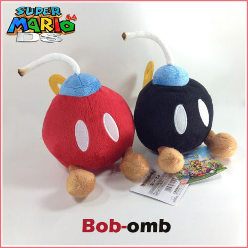 "2X Super Mario Bros Plush Bob-omb Bomb Soft Toy Stuffed Animal Black Red Doll 5/"""