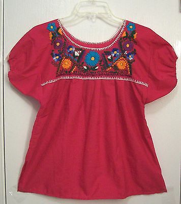 Vintage EMBROIDERED Fuscia PINK Hippie MEXICAN Peasant Top FESTIVAL Blouse S