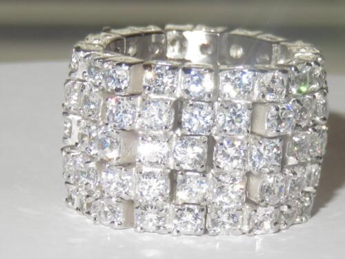 41003 sterling silver ring simulated diamonds stamped band eternity wide womens