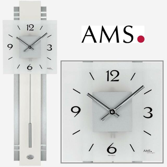 Aluminium Quartz Wall White Ams Clock With Pendulum Decor 8wONn0PkXZ