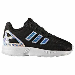 Infant Adidas Zx Flux EL I Iredescent Black White CG3594 Various UK ... a1b2b54631da