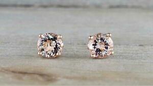 1Ct-Round-Cut-Peach-Morganite-14K-Rose-Gold-Over-Women-039-s-Pretty-Stud-Earrings