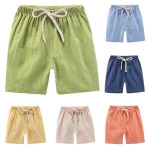 PM-Boys-Girls-Solid-Color-Elastic-Drawstring-Shorts-Knee-Length-Half-Pants-Ch