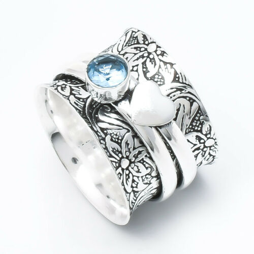 Blue Topaz Stone Solid 925 Sterling Silver Handmade Ring Spinner Ring Size  2