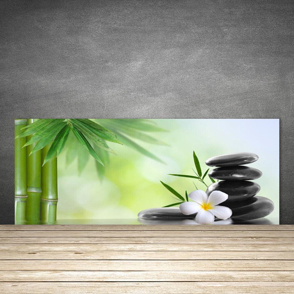 Crédence de cuisine en verre Panneau 125x50 Art Bambou Tige Fleur Pierres