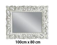 Wandspiegel WEIß Antik Barock Repro Shabby Chic GLAMOUR 100x80 Spiegel WOE