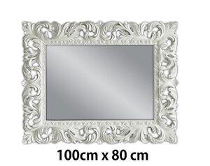 Dettagli su Specchio Muro Bianco Antico Barocco Repro Shabby Chic Glamour  100x80 Woe