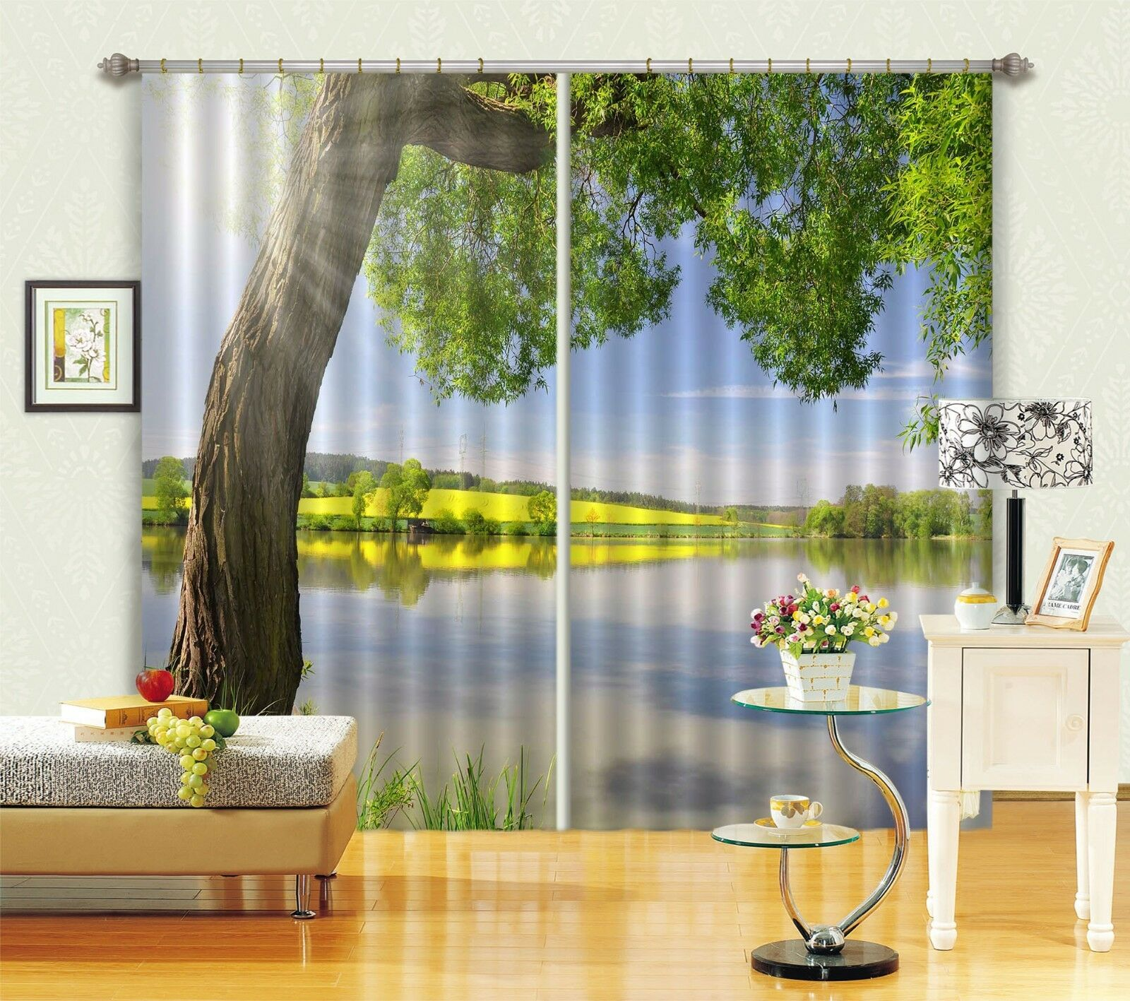 3D Árbol Lago 12 Cortinas de impresión de cortina de foto Blockout Tela Cortinas Ventana au