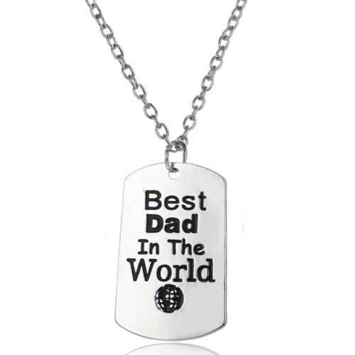 Dad Necklace Heart Crystal Dog Tag Pendant Chain Daddy Father Family Love Gifts
