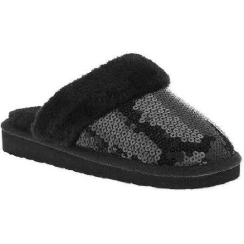 Girls Size 12 Black Fur /& Sequin Slip-On Scuff Slippers-NEW-Indoor-Outdoor S