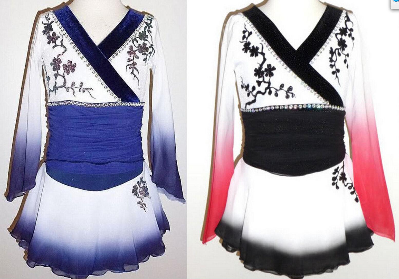 Made to Fit Ice Figure Skating dress Twirling Kimono Oriental Dance costume
