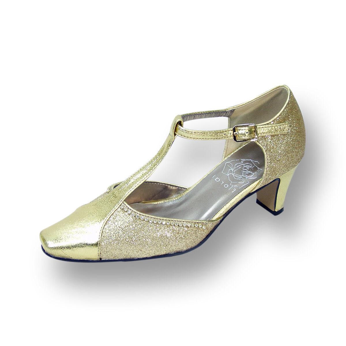FLORAL Rosa Damens Wide Width Jewel Outlined Upper Closed Toe T-Strap Dress Pump