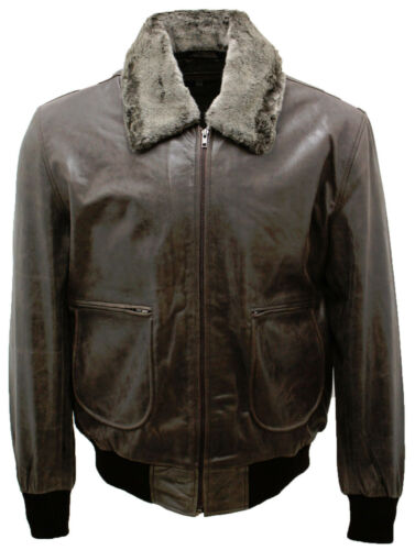 Hide Sheepskin Grey Men's A2 Detachable Bomber With Leather Jacket Collar UwUEq8