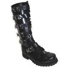 BOTAS MILITARES 20 Presillas Piel Negras 6 Hebillas Calaveras talla 38 . boots