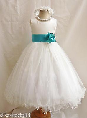 NEW IVORY JADE TEAL GREEN BRIDESMAID FLOWER GIRL DRESS 18-24MO 2 4 6 8 10 12 14