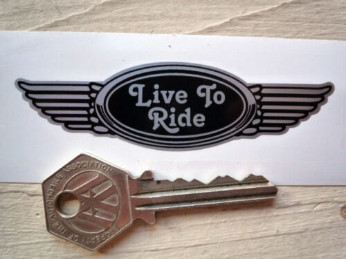 LIVE TO RIDE 125mm winged Helmet sticker Rockers Teds