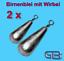 2-x-Birnenblei-mit-Wirbel-3g-60g-Angelblei-Grundblei-Karpfenblei Indexbild 1